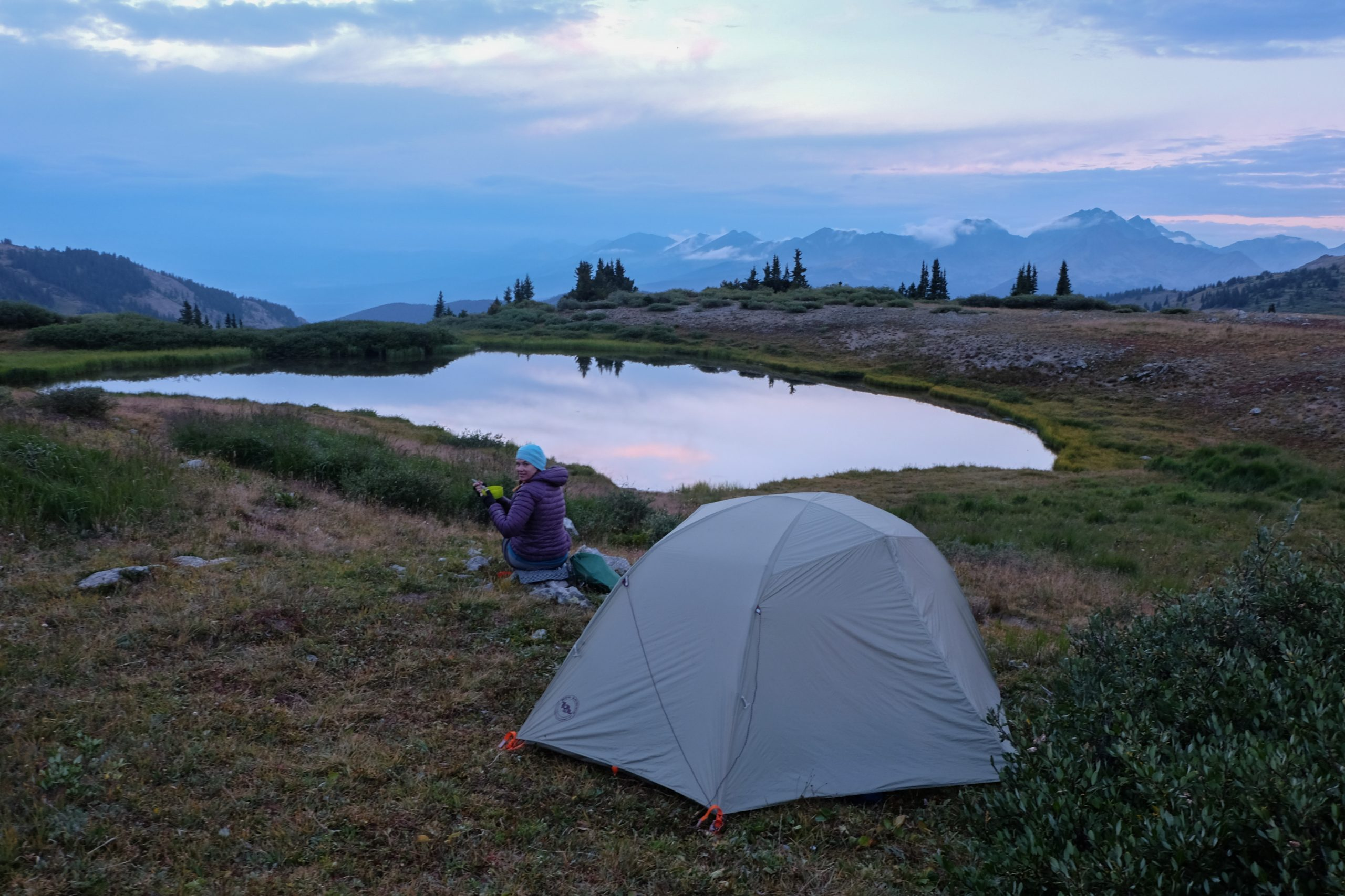 Heather camping at Cottonwood Pass, CO