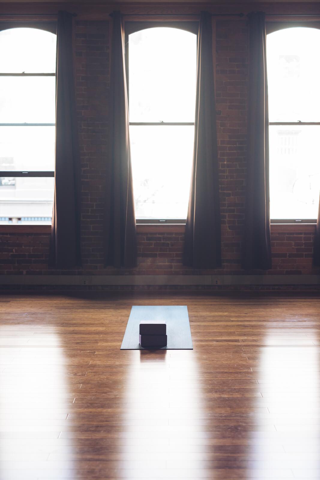 yoga mat in a studio