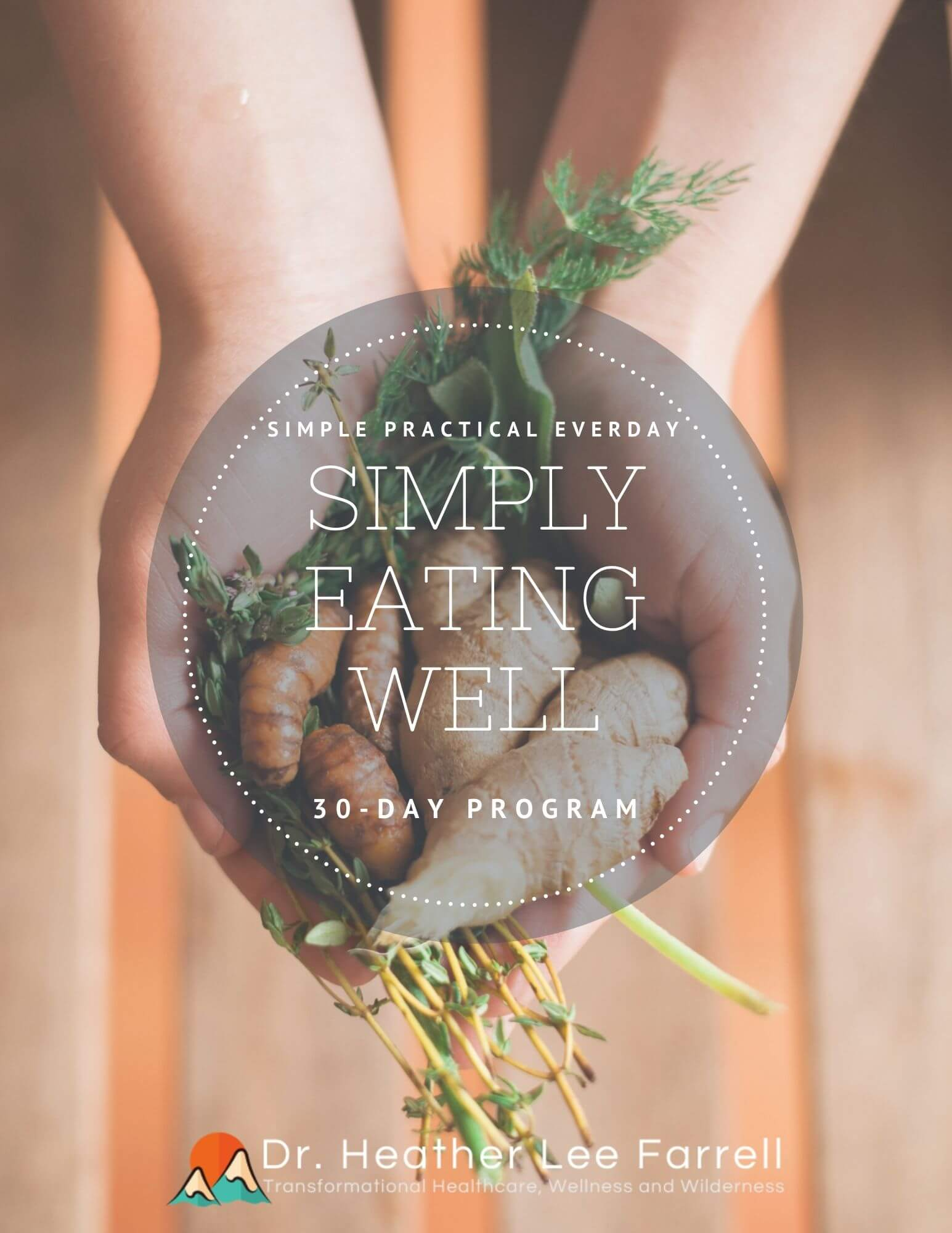 Simply eating well with hands holding vegetables