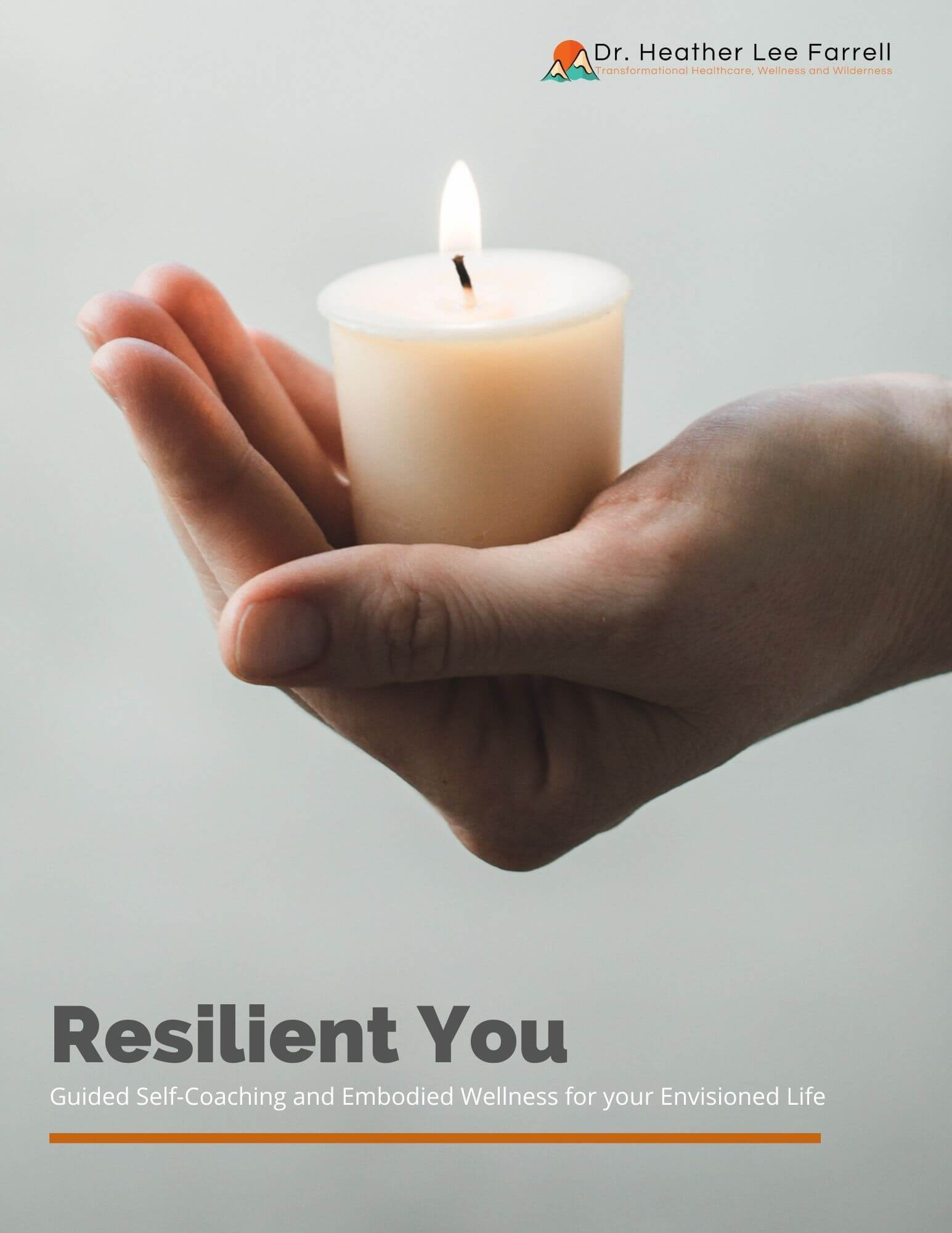 Resilient you with hand holding a lit candle